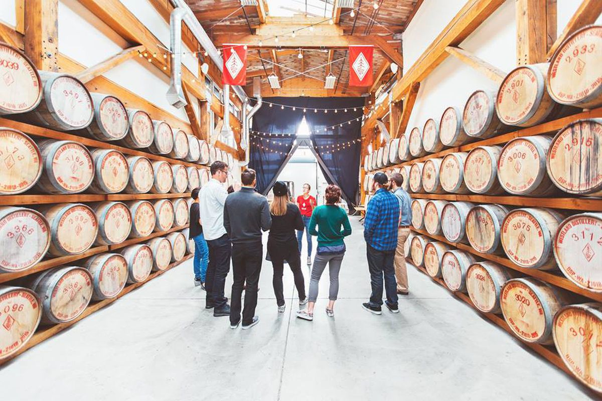 A tour through the barrel room at Westland Distillery in Seattle.