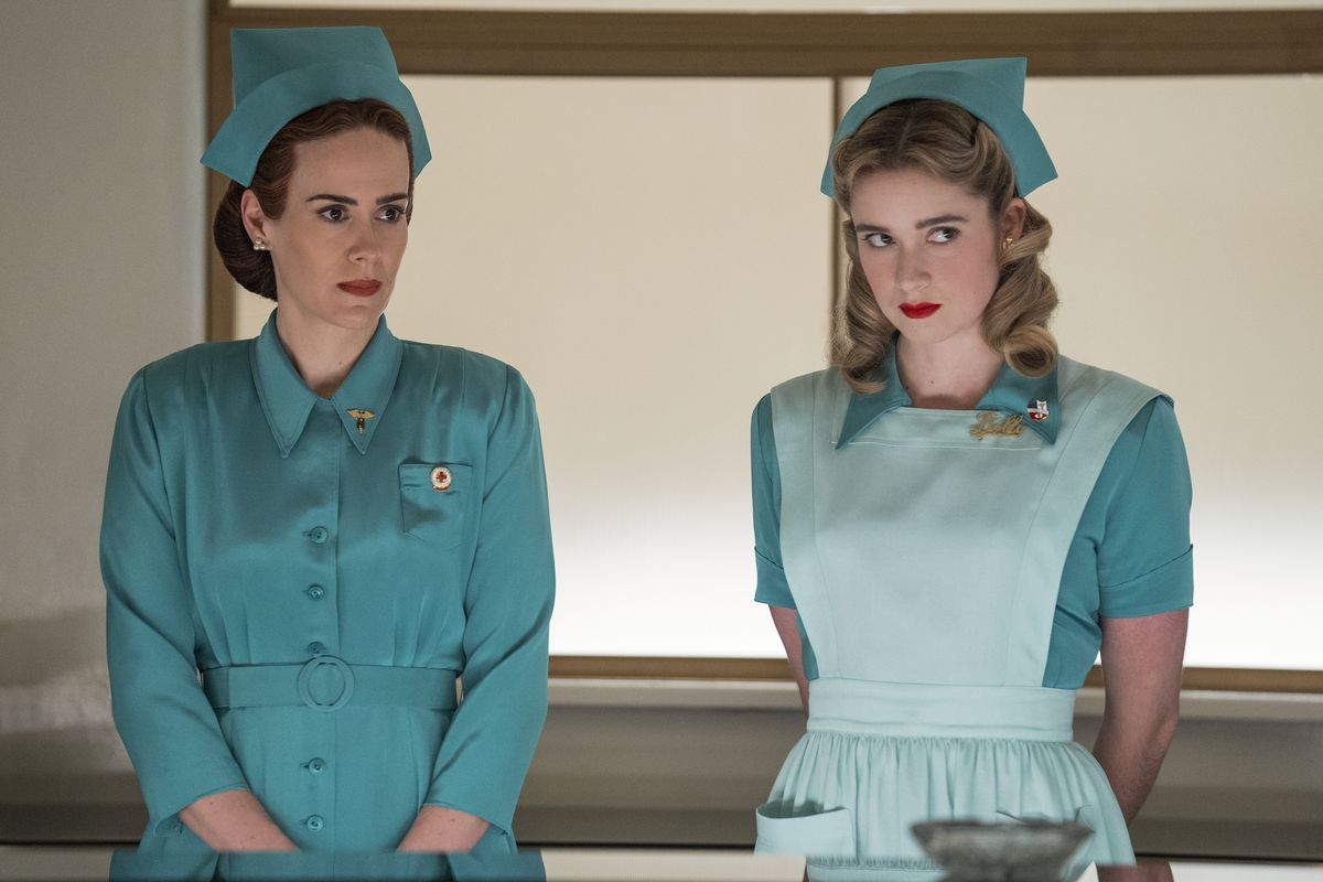 Two nurses in vivid bright blue in Netflix's Ratched
