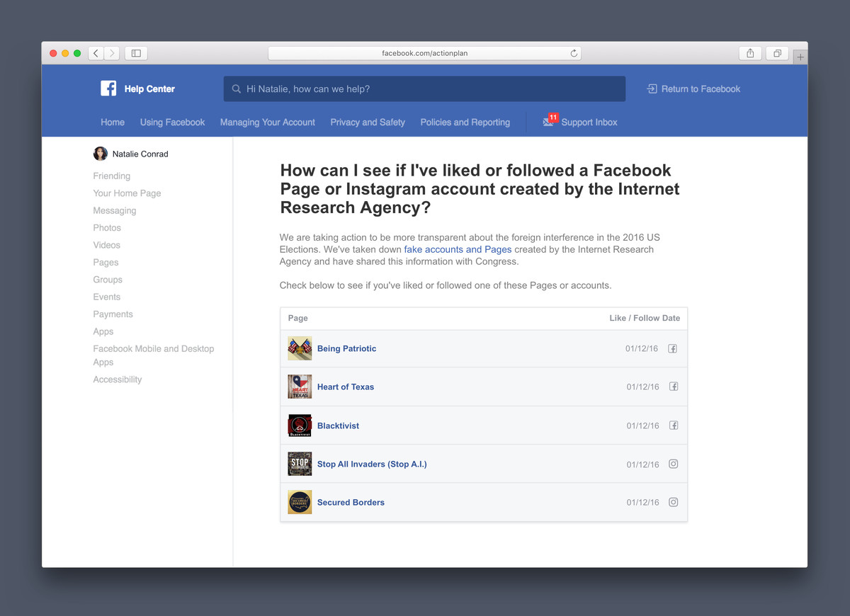 A mockup of Facebook's new disclosure page