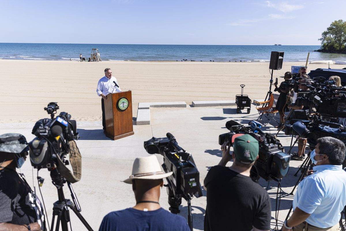 Chicago Park District Superintendent.  Michael Kelly discusses disciplinary action taken against Beach and Pool Unit employees during a press conference at the South Shore Beach House at 7059 South Shore Drive in South Shore on Monday August 16, 2021. Chicago Park District is under surveillance after reporting misconduct and sexual abuse.