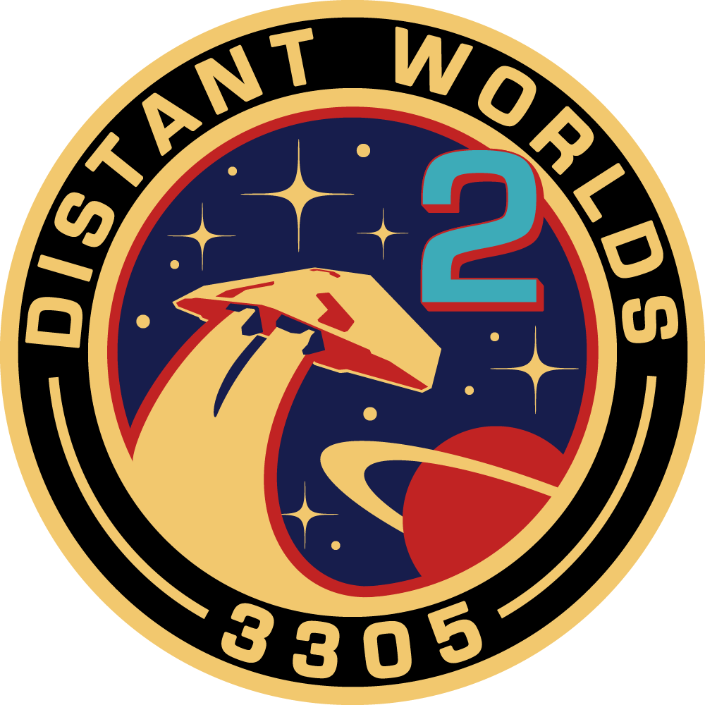 A fan-made mission patch for Far away Worlds 2 in Elite: Unpleasant.