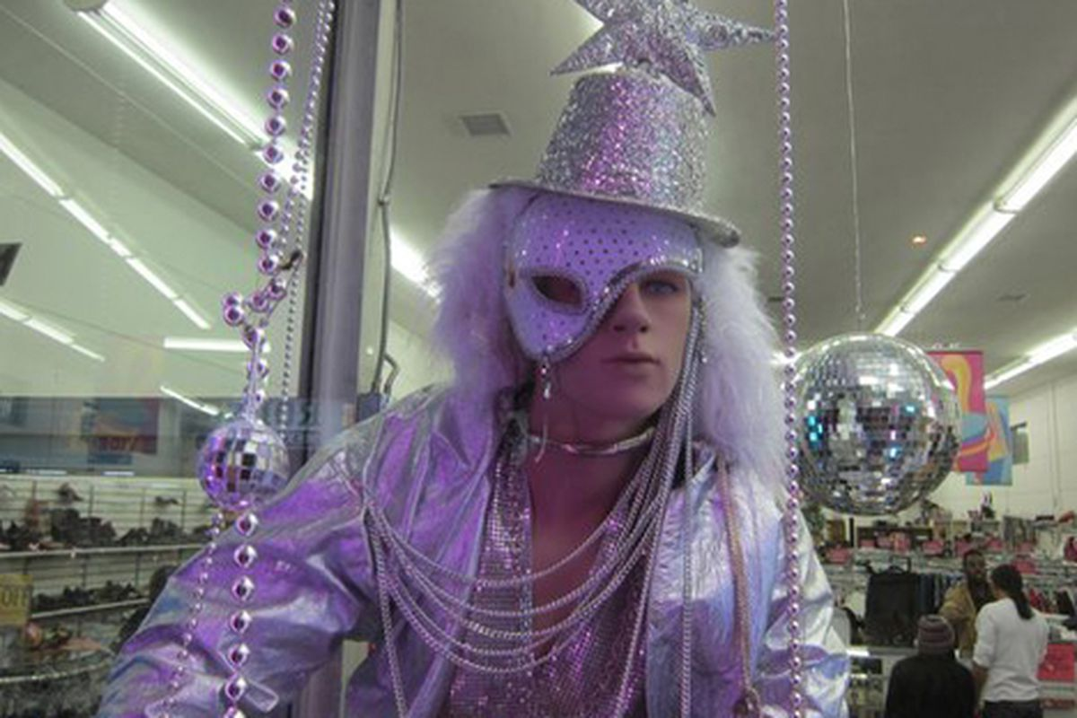 """A display from Cruz's """"My Winter Gala"""" display at Out of the Closet. Photo via <a href=""""http://www.theeastsiderla.com/2012/01/echo-park-window-dresser-uses-imagination-and-disco-balls-to-create-storefront-fantasies/"""">The Eastsider LA</a>."""
