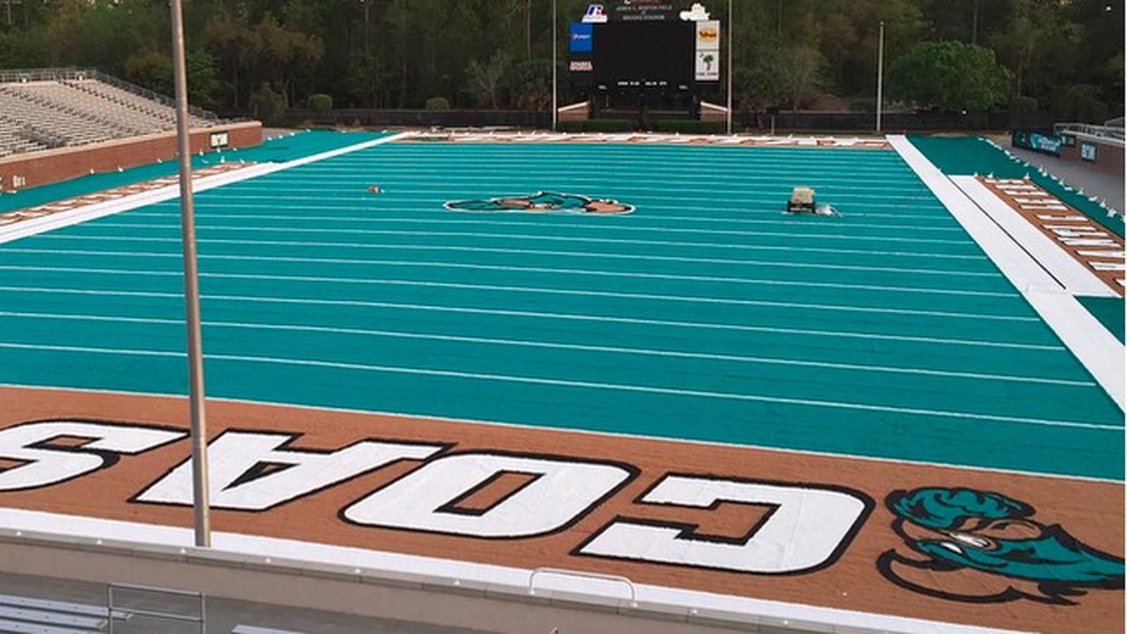 Coastal Carolina Installed A Teal Football Field