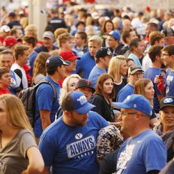 Fans filter in Lavell Edwards Stadium prior to the Utah BYU game in Provo on Saturday, Sept. 9, 2017.