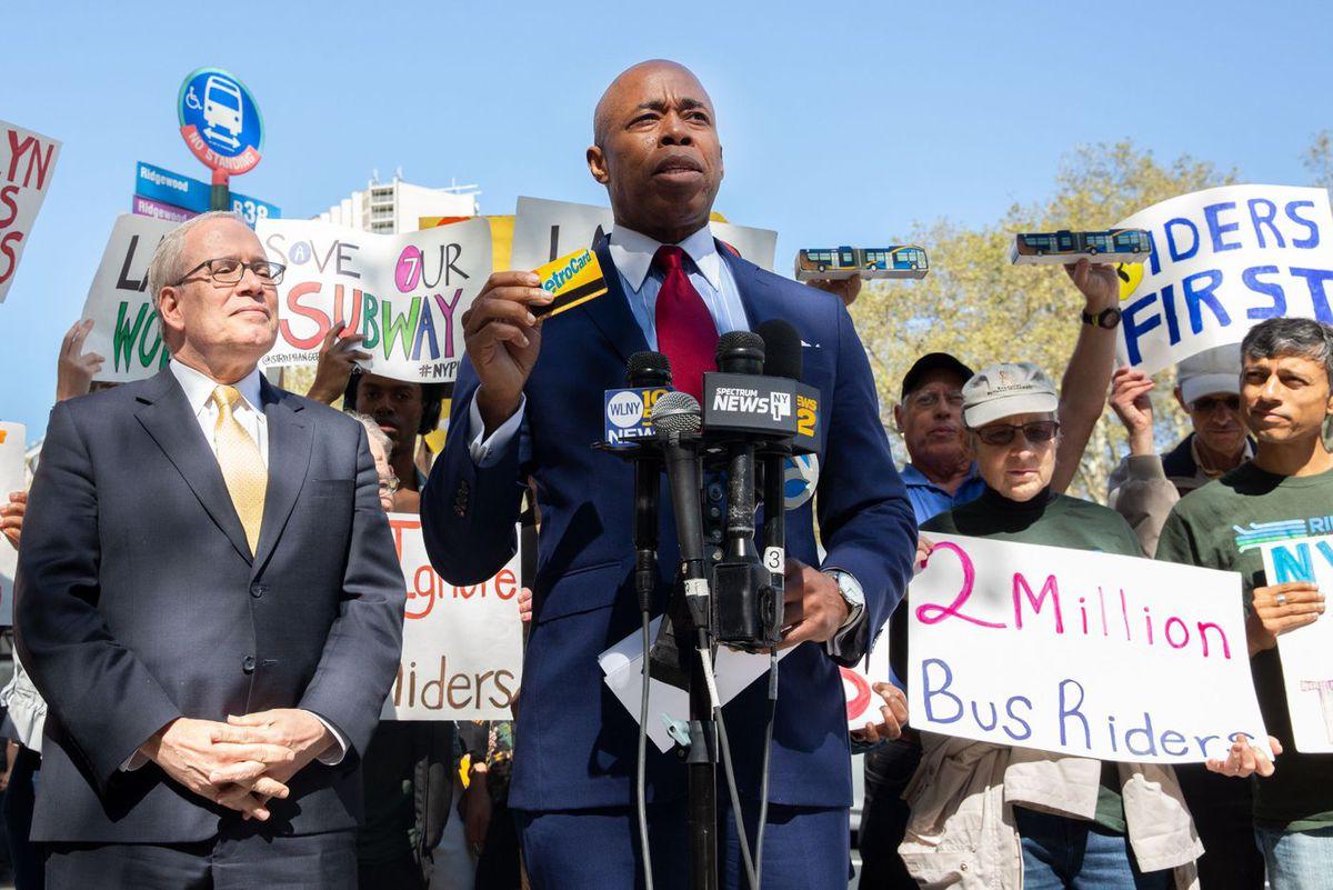 Eric Adams speaks about public transportation.