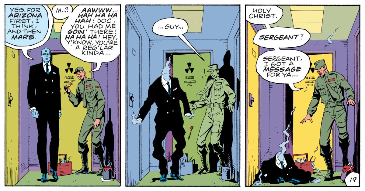 Doctor Manhattan tells a surprised soldier that he is leaving for Arizona, and then Mars, and does so, teleporting directly out of his three piece suit, in Watchmen, DC Comics (1986).