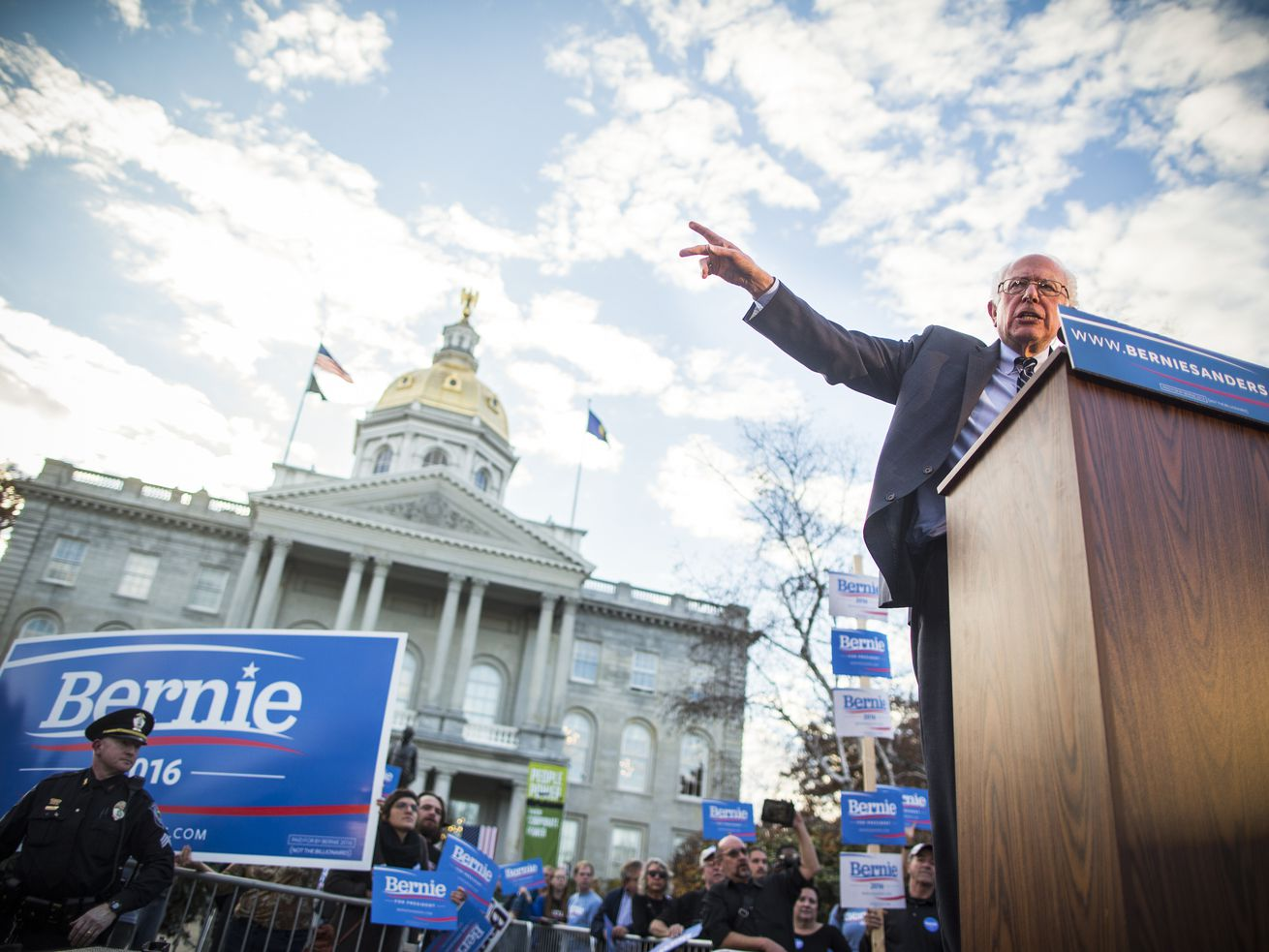 Sen. Bernie Sanders (D-VT) speaks at a 2016 campaign rally outside the New Hampshire State House, after filing the paperwork his candidacy on November 5, 2015.