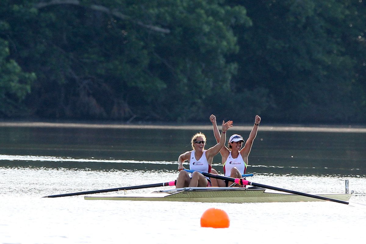 WEST WINDSOR, NJ - JUNE 14:  Sarah Zelenka and Sara Hendershot celebrate the win of the Womens 2 final during Day 2 of the 2012 Olympic Rowing Trials on June 14, 2012 at Mercer Lake in West Windsor, New Jersey.  (Photo by Elsa/Getty Images)