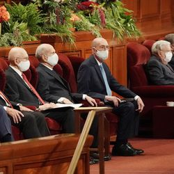 Leaders are seated during the Sunday afternoon session of the 191st Semiannual General Conference of The Church of Jesus Christ of Latter-day Saints in the Conference Center in Salt Lake City on Sunday, Oct. 3, 2021.
