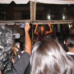 VV Brown performs at the ASOS & Teen Vogue block party