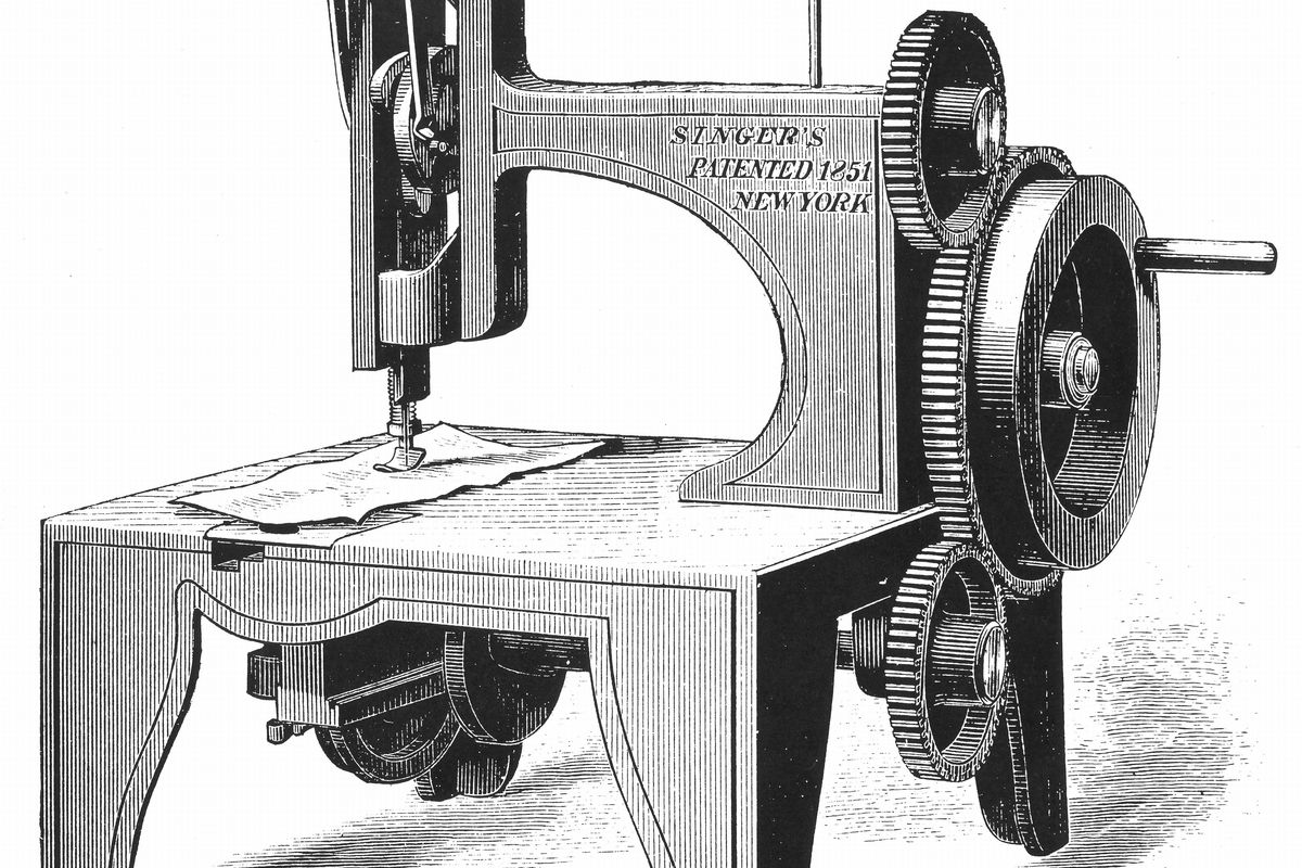 Isaac Merrit Singer's (American inventor) first sewing machine, patented 1851. From Genius Rewarded or the Story of the Sewing Machine, New York, 1880.Wood engraving.