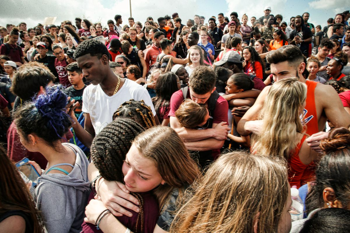 February 21: Students rally at Marjory Stoneman Douglas High School after participating in a county wide school walk out in Parkland, Florida.Read More. (Rhona Wise/AFP/Getty Images)