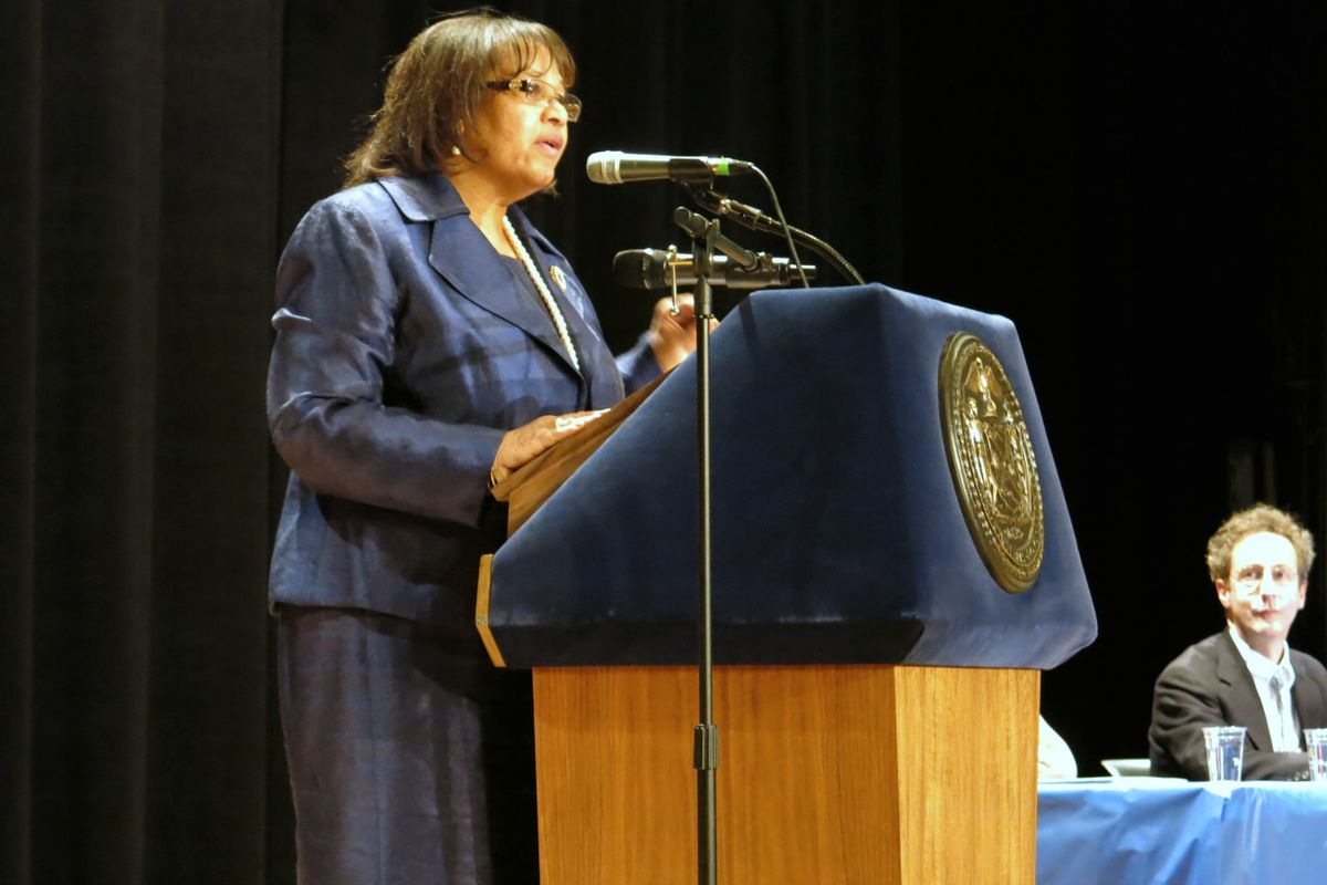Senior Deputy Chancellor Dorita Gibson (pictured at a conference in January) was among the officials who shared basic details of the city's struggling-school improvement plan with principals last week.