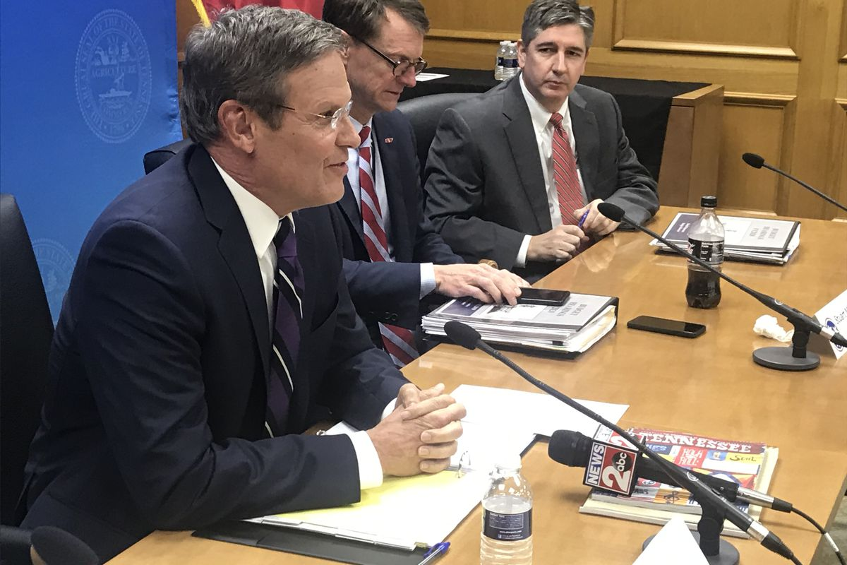 Gov. Bill Lee (left) leads budget hearings on Monday at the state Capitol. The Republican businessman, who took office on Jan. 19, expects to complete his first proposed spending plan in early February.