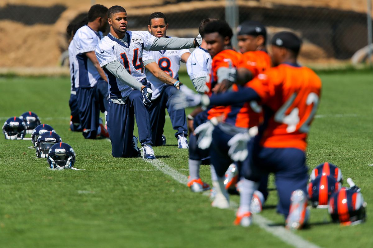 Broncos 2014 draft picks and undrafted free agents participate in rookie minicamp.