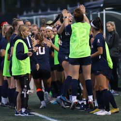 The UConn Huskies take on the Brown Bears in a women's college soccer game at Stevenson-Pincince Field in Providence, RI on September 5, 2019.