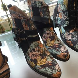 Flower print boots, $225
