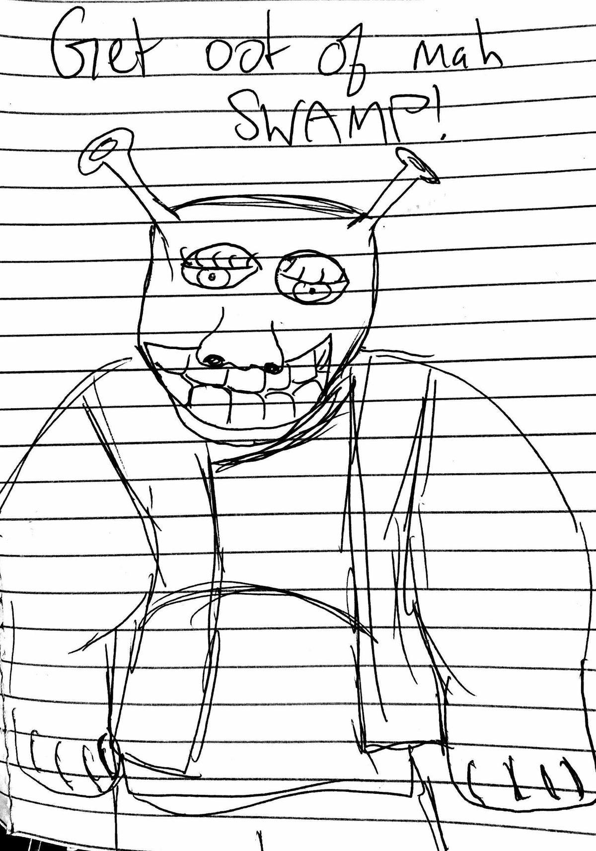 a sketch of shrek