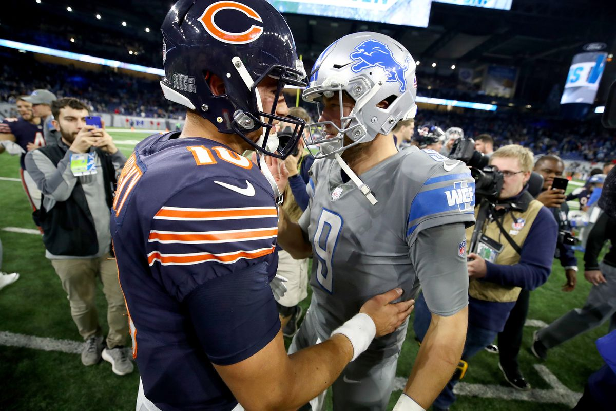 Detroit Lions quarterback Matthew Stafford talks with Chicago Bears quarterback Mitchell Trubisky after the Lions defeated the Bears 20-10 at Ford Field on December 16, 2017 in Detroit, Michigan.