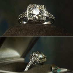 1930s Deco 1.21ct European cut diamond filigree ring, 18K white. A lot of Deco rings were set in a way that makes the diamonds look enormous. This was a good-sized stone anyway, but from a small distance it easily looked like twice its size.