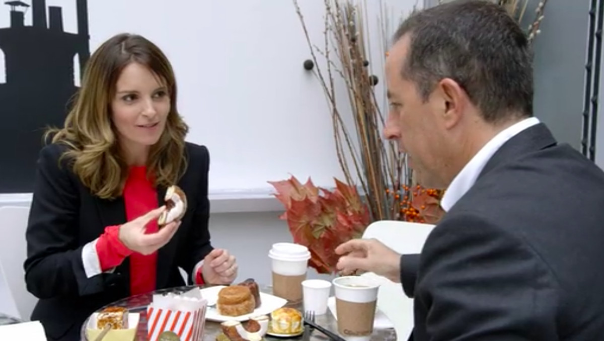 Tina Fey and Jerry share a cronut at Dominique Ansel Bakery.