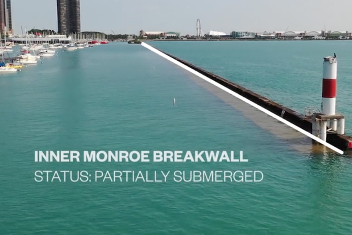 A screenshot of a video shot this week by the company that runs Chicago's harbors highlighting submerged breakwalls that have caused trouble for boaters