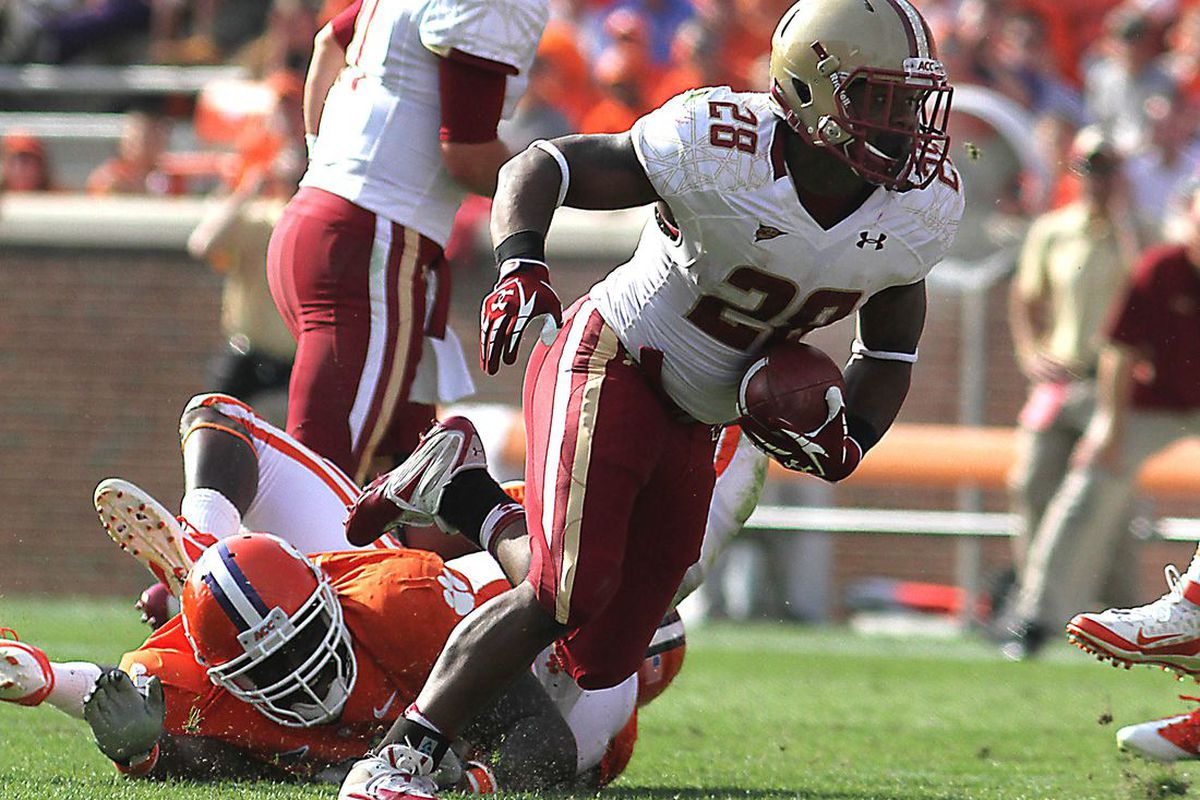 Oct 8, 2011; Clemson, SC, USA; Boston College Eagles running back Rolandan Finch (28) carries the ball during the second quarter against the Clemson Tigers at Clemson Memorial Stadium. Tigers won 36 to 14. Joshua S. Kelly-US PRESSWIRE