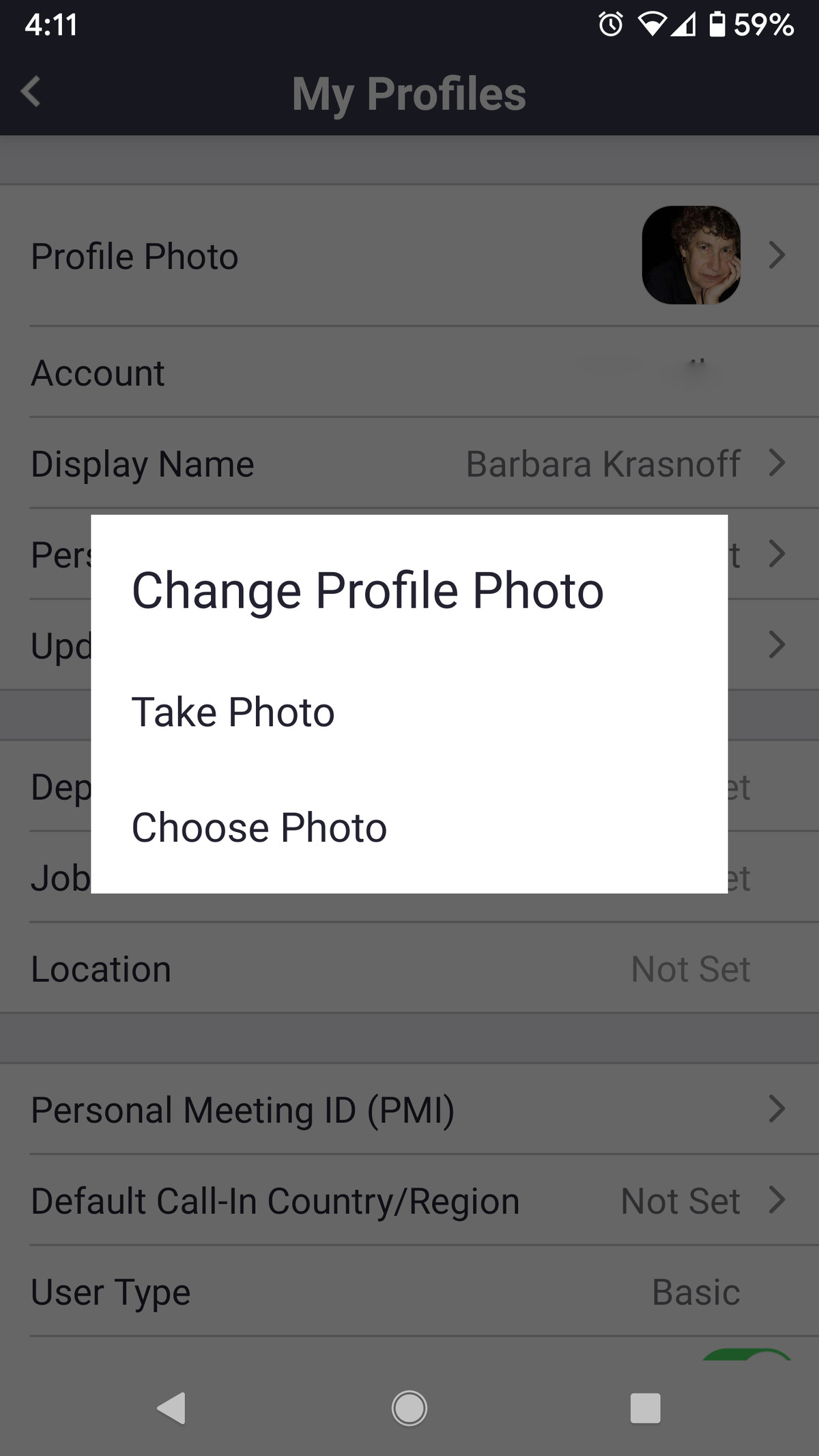 You can also change your profile photo in the pop-up window.
