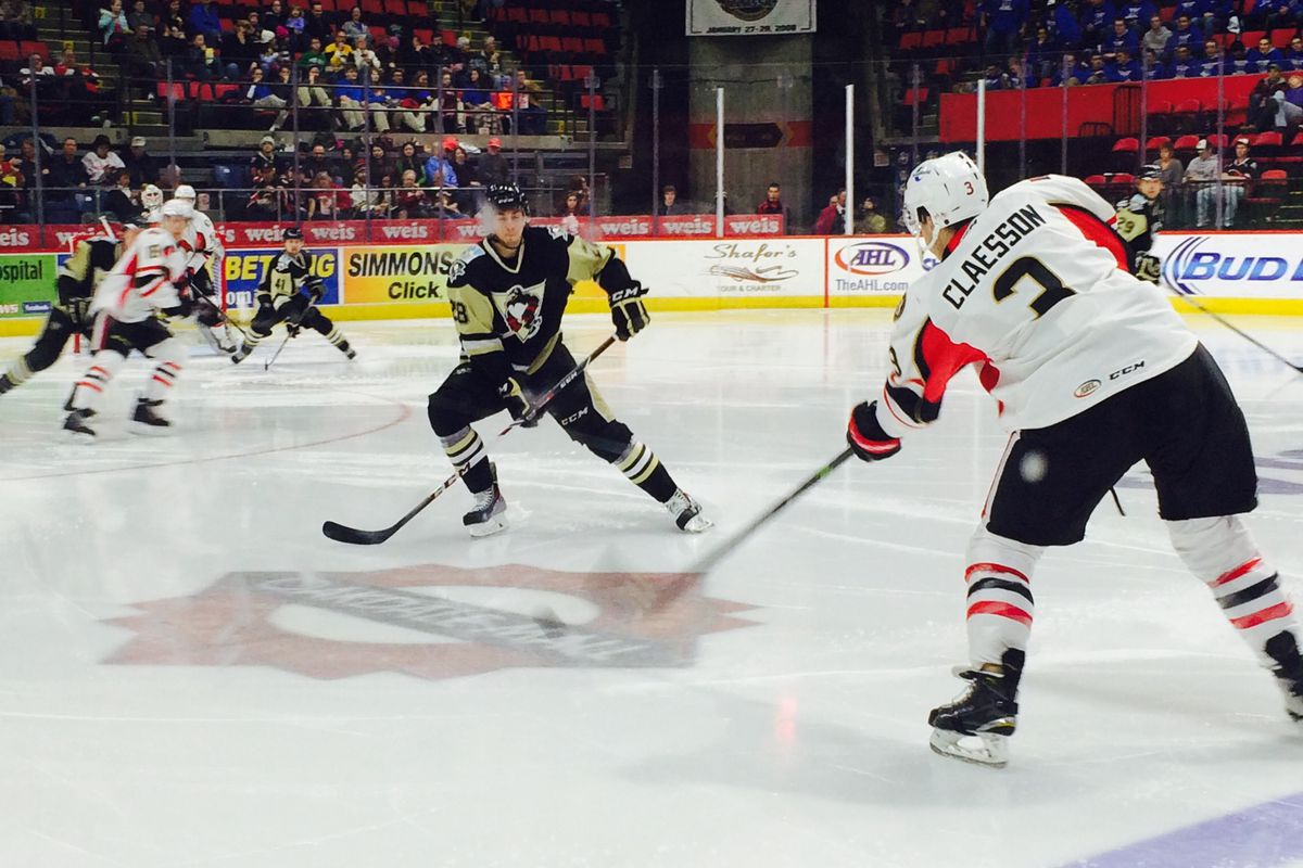 Defenseman Fredrik Claesson in action during a recent Binghamton Senators game