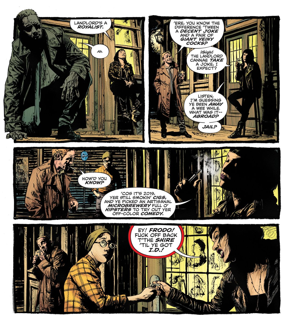 The bouncer of the bar John Constantine was just thrown out of needles him about being unable to read the room, in John Constantine: Hellblazer #1, DC Comics (2019).