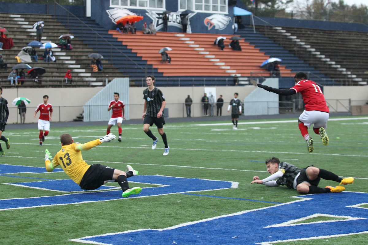 Zyen Jones scores his first of the match for Georgia United. (Photo by Dave Williamson)