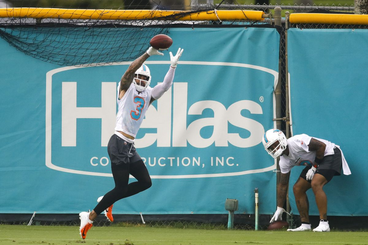 Miami Dolphins wide receiver Will Fuller (3) makes a catch during minicamp at Baptist Health Training Facility. Mandatory Credit: Sam Navarro