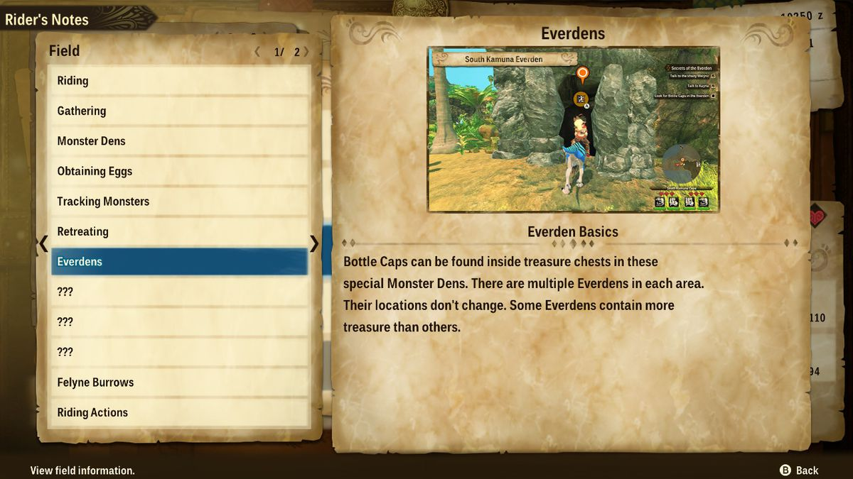 Information about Everdens in Monster Hunter Stories 2: Wings of Ruin