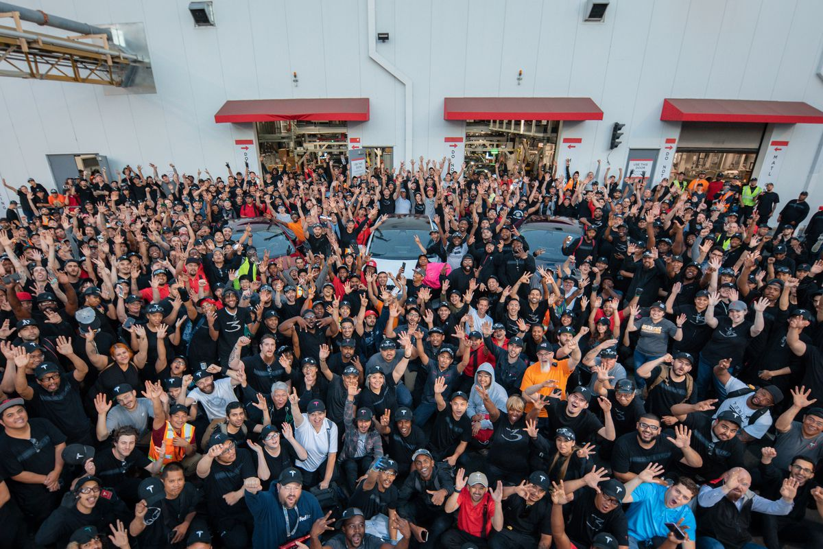 Hundreds of Tesla workers outside the Tesla factory
