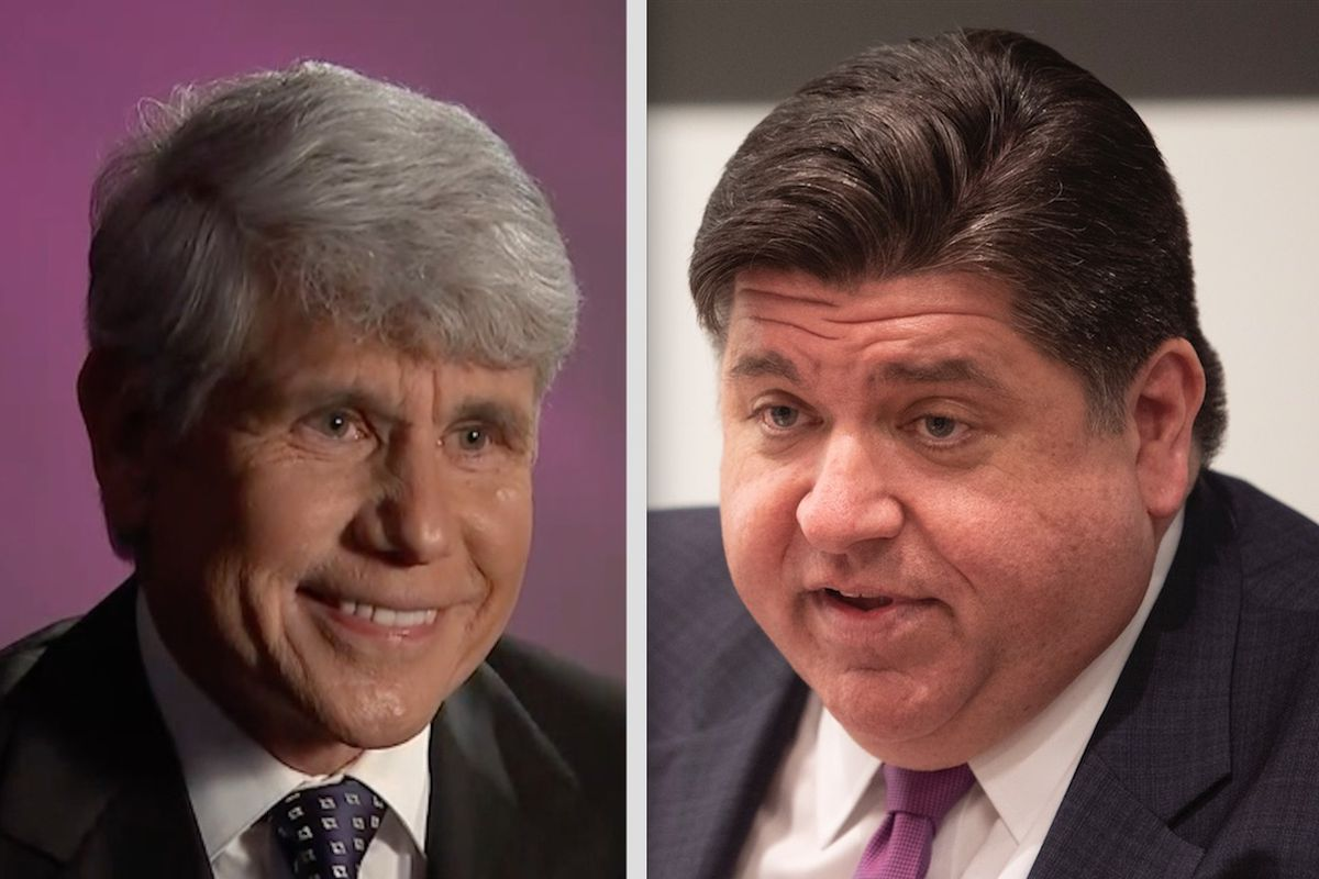 Former Gov. Rod Blagojevich, left, talks to NBC5's Mary Ann Ahern on Friday; Gov. J.B. Pritzker meets with the Sun-Times Editorial Board Thursday.