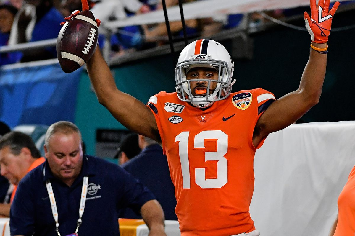 Virginia Cavaliers wide receiver Terrell Jana celebrates after scoring a touchdown against the Florida Gators during the first half at Hard Rock Stadium.