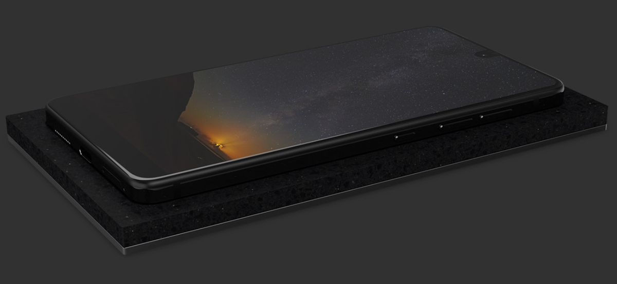 Essential Phone atop the Essential Phone Dock