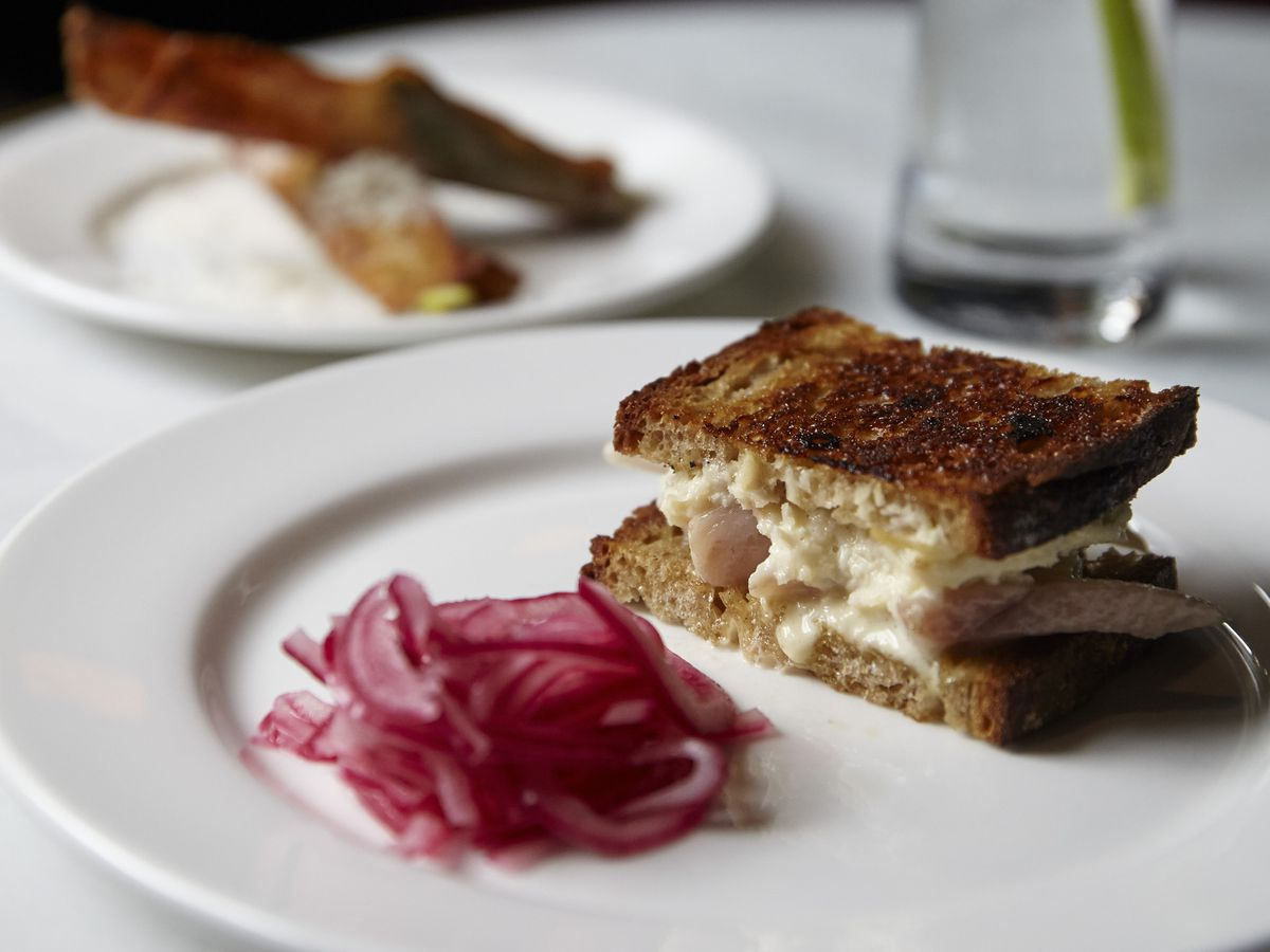 London's most iconic dishes: smoked eel sandwich at Quo Vadis
