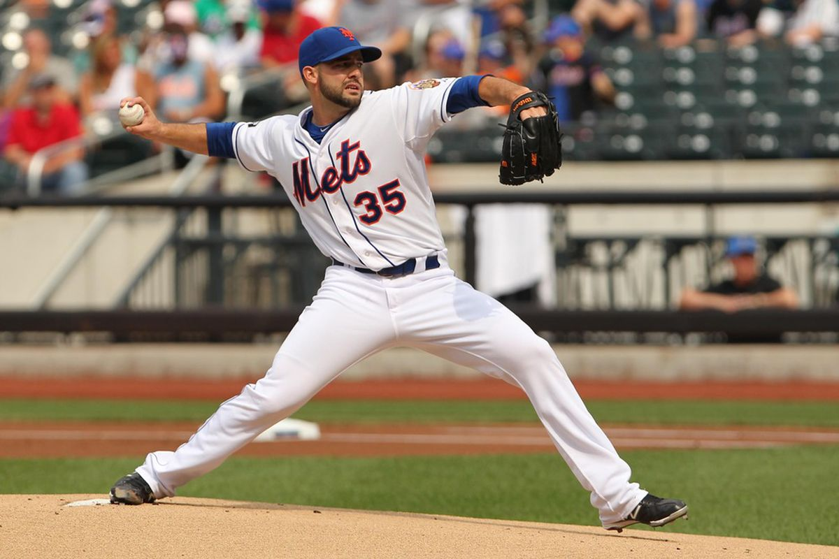 July7, 2012; Flushing, NY,USA;   New York Mets starting pitcher Dillon Gee (35) delivers a pitch during the first inning against the Chicago Cubs at Citi Field.  Mandatory Credit: Anthony Gruppuso-US PRESSWIRE
