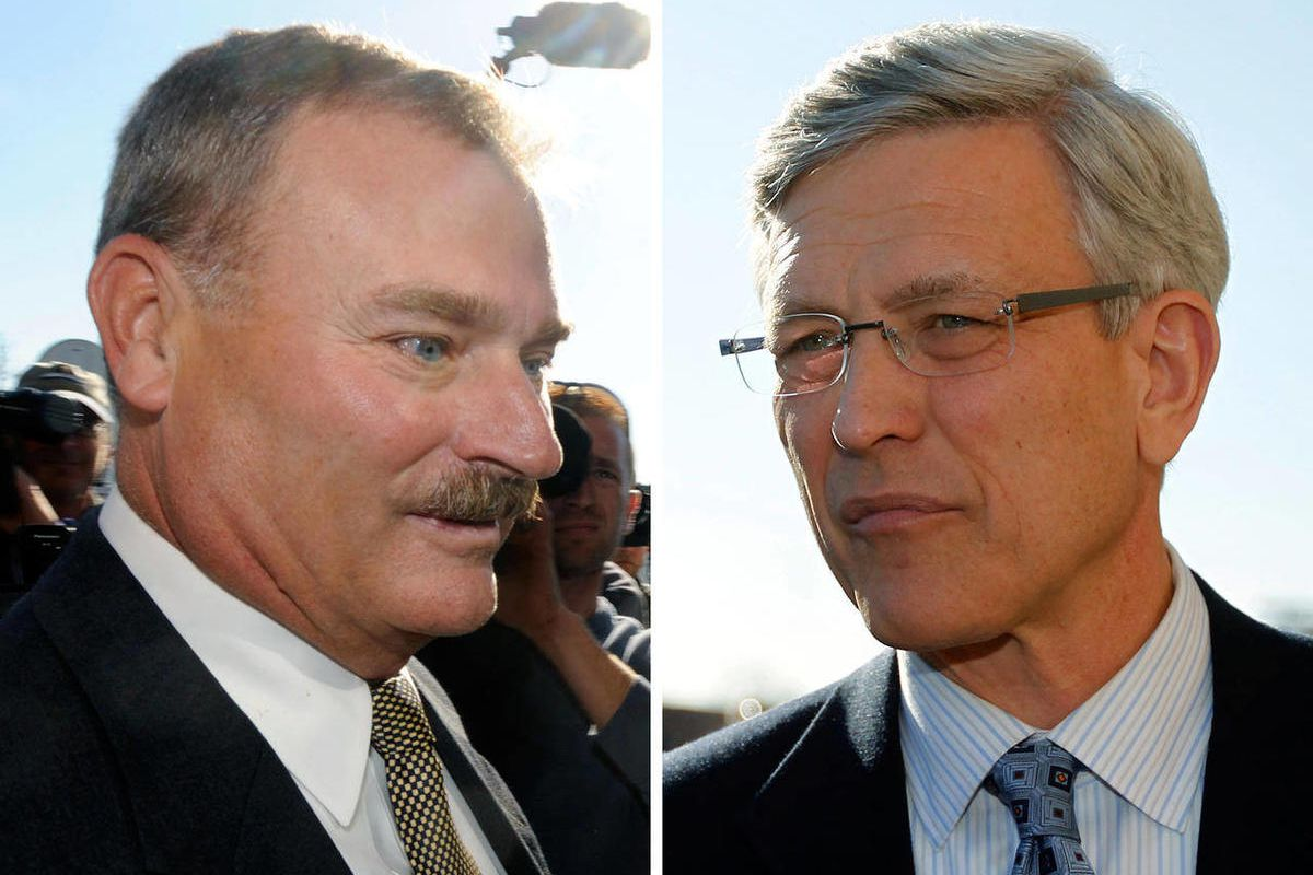 FILE - In these combo image made of Nov. 7, 2011, file photos, former Penn State vice president Gary Schultz, left, and former athletic director Tim Curley, right, enter a district judge's office for an arraignment in Harrisburg, Pa., for their actions re