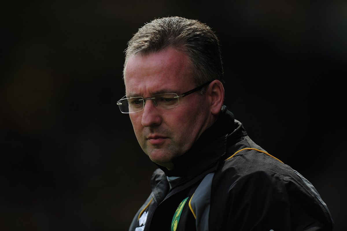 NORWICH, ENGLAND - MAY 13:  Paul Lambert of Norwich City looks on during the Barclays Premier Leage match between Norwich City and Aston Villa at Carrow Road on May 13, 2012 in Norwich, England.  (Photo by Jamie McDonald/Getty Images)