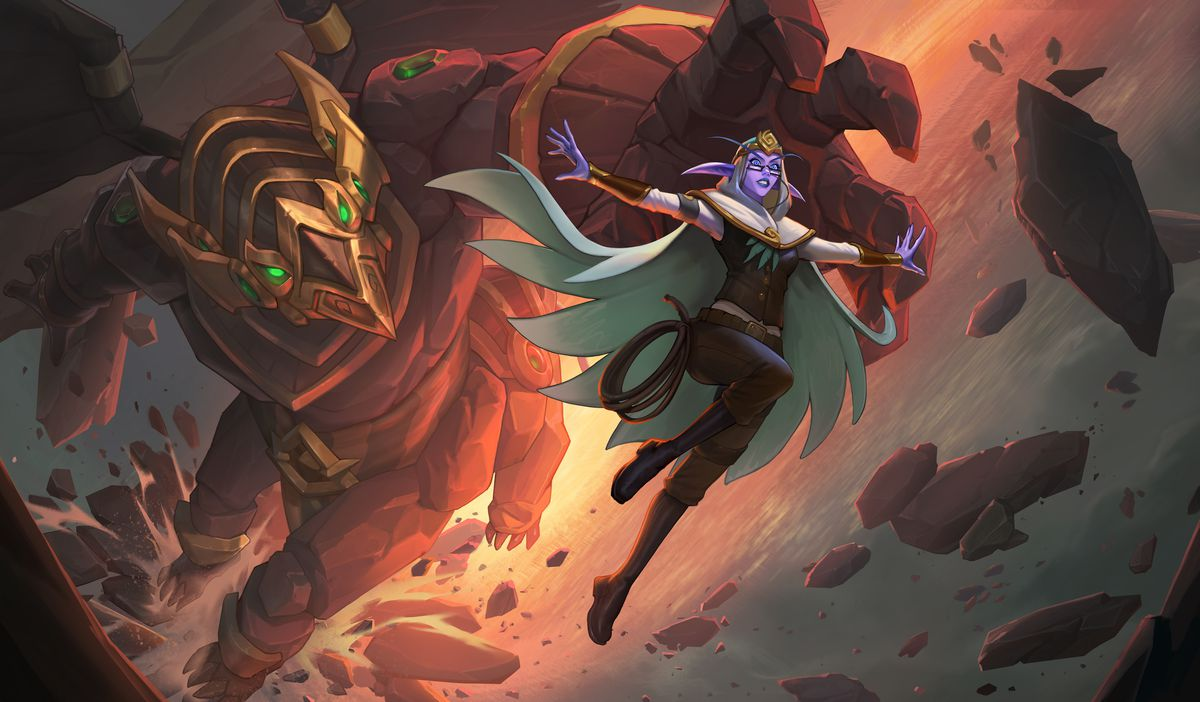 World of Warcraft - Elise Starseeker, a night elf in a white cape, escapes a giant Titan construct.