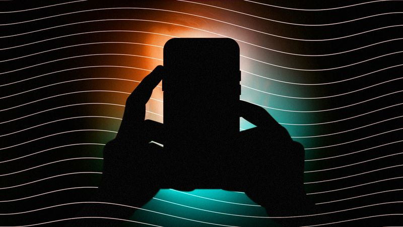Illustration of a backlit silhouette of a person holding a phone.