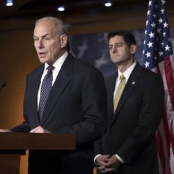 """Homeland Security Secretary John Kelly, left, joins House Speaker Paul Ryan, R-Wis., as the Republican-led House pushes ahead on legislation to crack down on illegal immigration, during a news conference at the Capitol in Washington, Thursday, June 29, 2017. One bill would strip federal funds from """"sanctuary"""" cities that shield residents from federal immigration authorities, while a separate bill would stiffen punishments on people who re-enter the U.S. Illegally."""