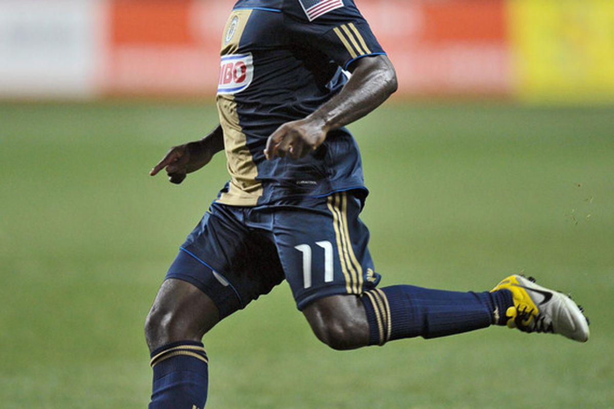 CHESTER, PA- AUGUST 13: Freddy Adu #11 of the Philadelphia Union kicks the ball during the game against FC Dallas at PPL Park on August 13, 2011 in Chester, Pennsylvania. The game ended 2-2. (Photo by Drew Hallowell/Getty Images)