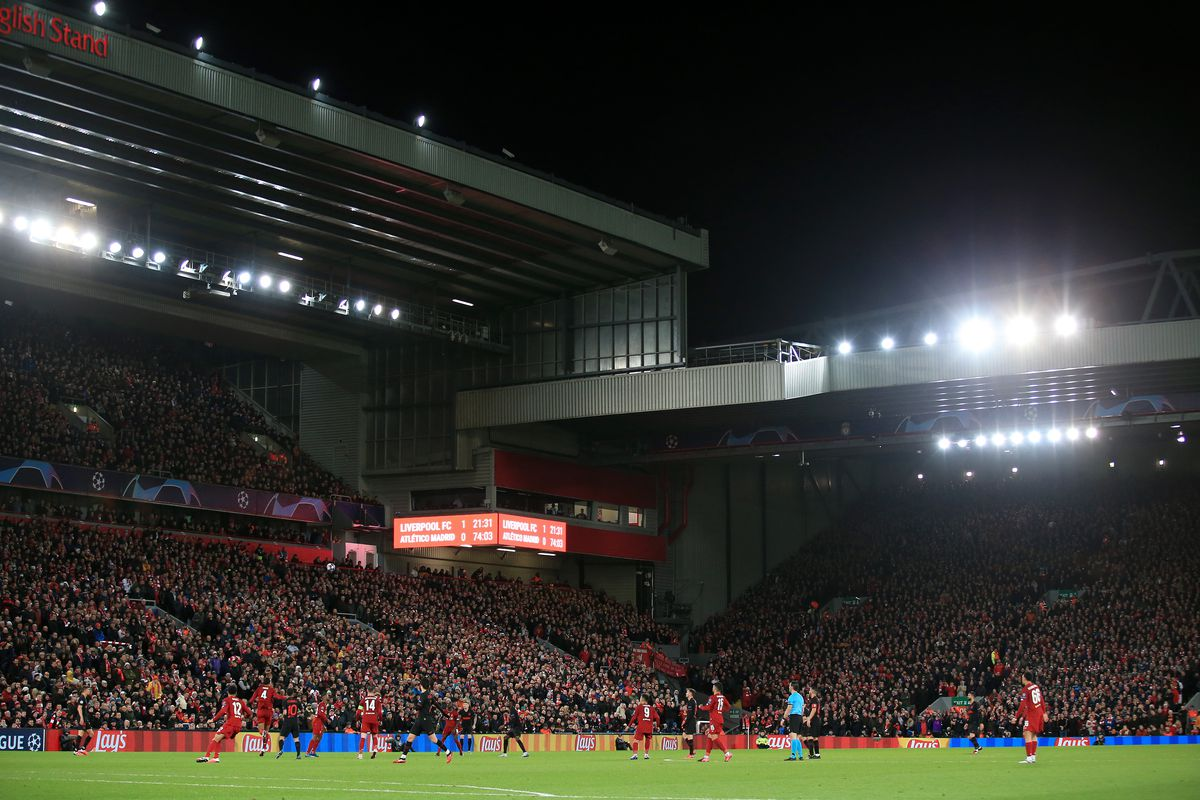 A general view during the UEFA Champions League round of 16 second leg match between Liverpool FC and Atletico Madrid at Anfield on March 11, 2020 in Liverpool, United Kingdom.