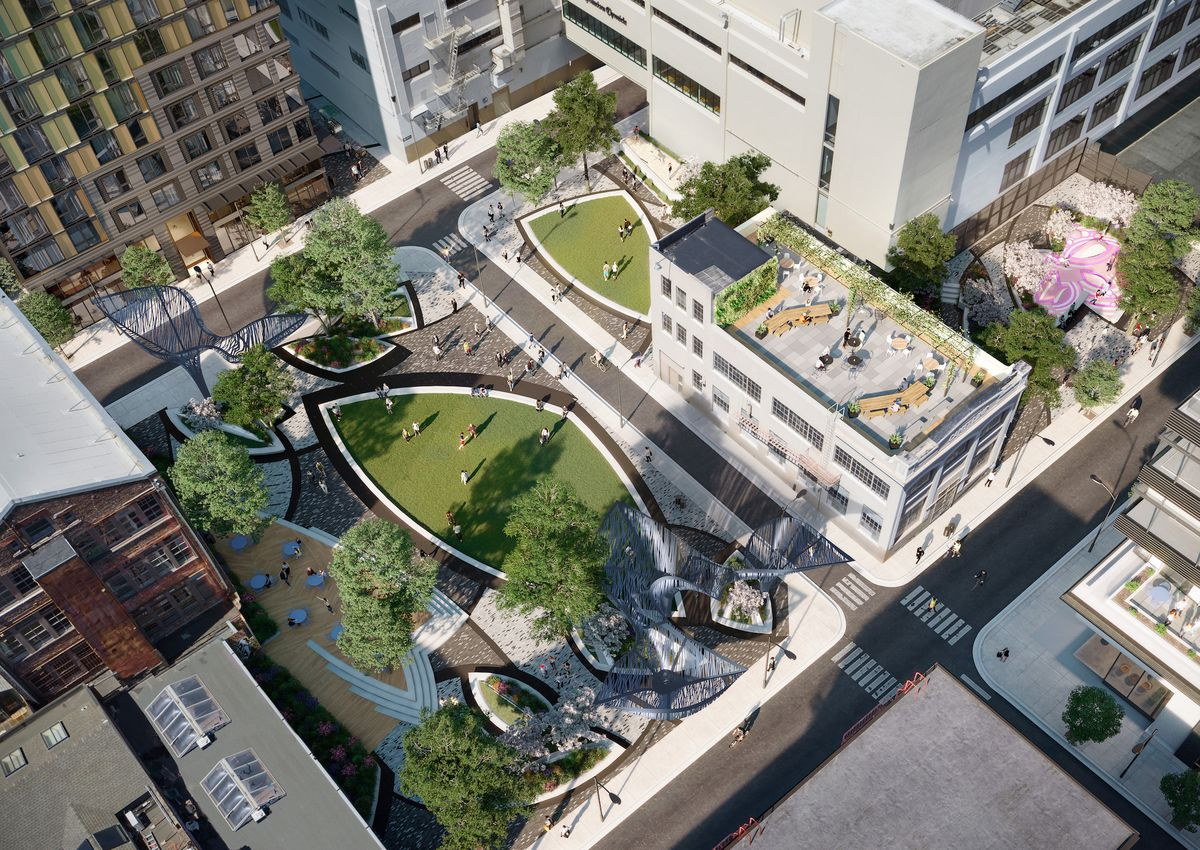 Rendering of a park with a grassy diamond-shaped lawn, new buildings, and new streets.