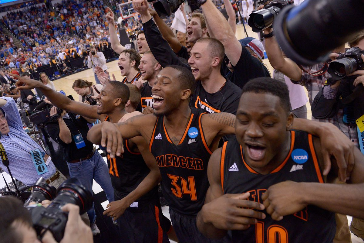 Mercer celebrates after stunning 3-seed Duke in the second round Friday.