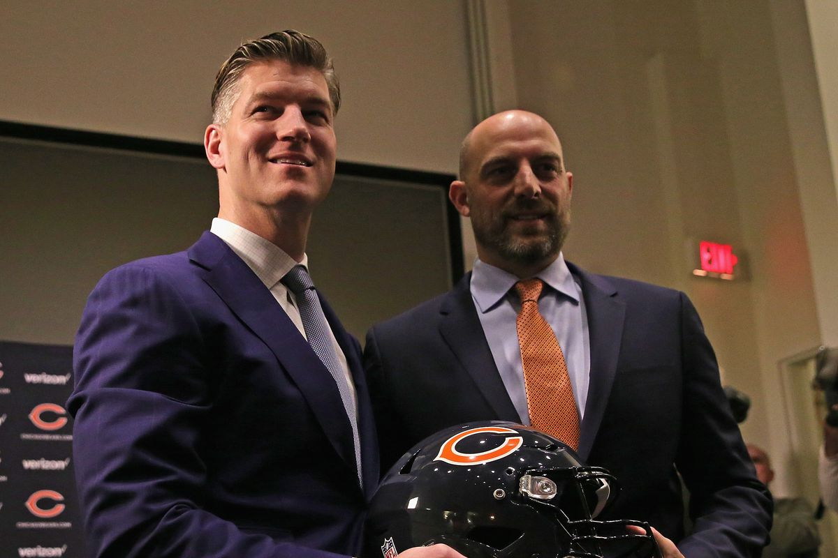 General manager Ryan Pace and Matt Nagy are introduced at Halas Hall three years ago.