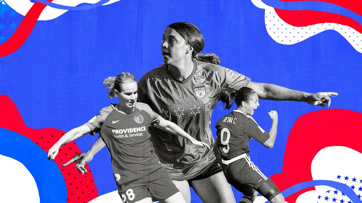 Collage of black-and-white images of women's soccer stars Amandine Henry, Sam Kerr and Deyna Castellanos on a red, white and blue background.